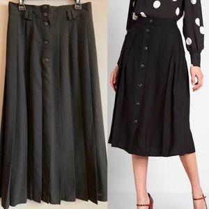 Vintage LOUBEN Black Pleated A-line Skirt